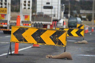sign, road, roadworkers, roadworks
