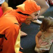 Lachlan Whan as Tigger meets the audience.