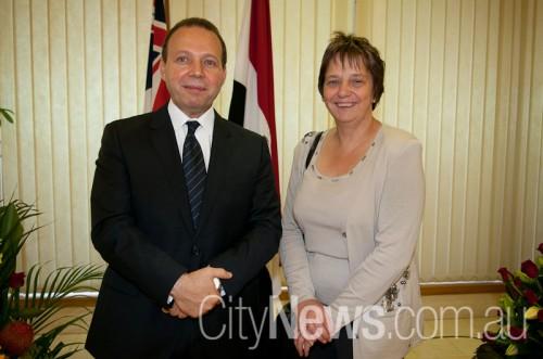Host Egyptian ambassador Hassan El-Laithy with Netherlands ambassador Annemieke Ruigrok SNB_9769