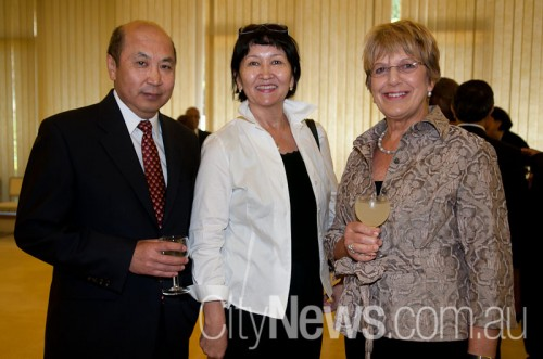 Mongolian ambassador Ravdan Bold with wife Oyuun and Helen Parkes