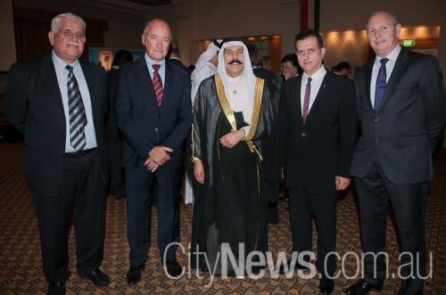 Omar Yassine, Michael Kavanagh, host Kuwaiti ambassador Khaled Al-Shaibani, Roland Jabbour and Geoff Puttick SNB_0773