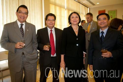 Thai ambassador Maris Langiampongsa, Laos ambassador Phomma Khammanichanh, Noor Blumer and Vietnamese ambassador Hoang Vinh Thanh SNB_9751