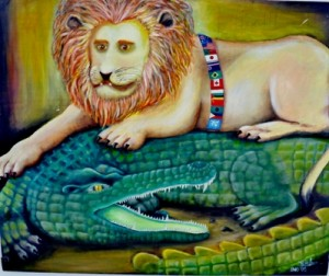 The Lion and the Awakening Crocodile (courtesy Arte Moris Gallery)