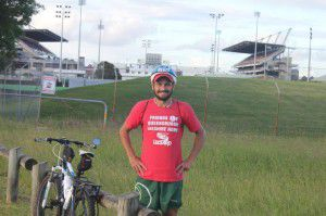 Garth Lezard outside Hunter Stadium, home of the Newcastle Knights.