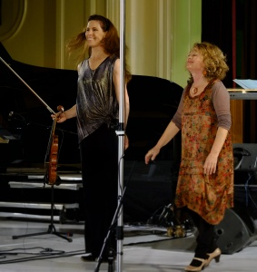 Violinist Karen Bentley Pollick and pianist Lisa Moore.