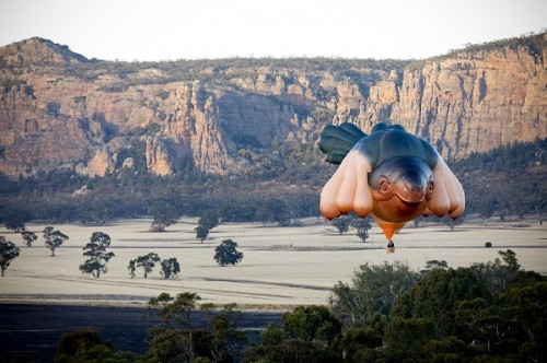 SkyWhale takes flight over Mt Arapilies, Western Victoria, Australia