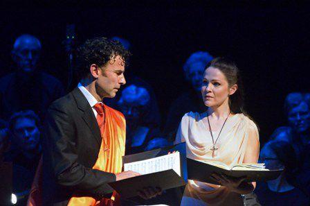 Tobias Cole and Greta Bradman. Photo by Peter Hislop