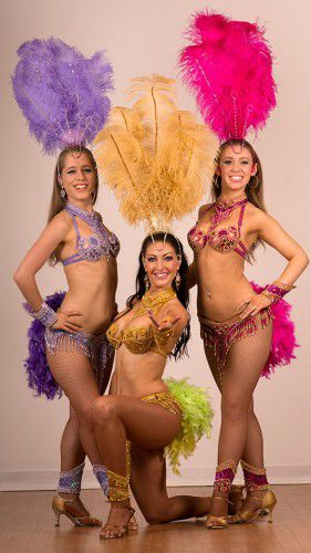 "Rio-bound dancers, from left, Sian Willoughby, Becky Fleming and Georgie Maguire… ""I still can't believe we're going, I'm just counting down the days now,"" says Georgie. Photo by Andrew Campbell"