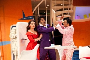 Emma Matthews as Fiorilla, Paolo Bordogna as Selim; Luciano Botelho as Narciso. Photo, Lisa Tomasetti