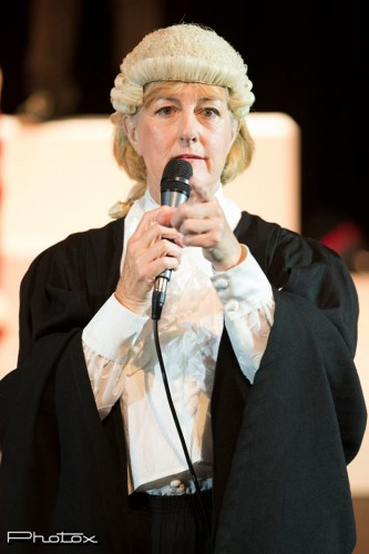 Barbara Denham as Prosecutor. Photo by Ben Appleby.