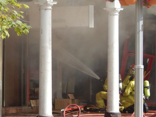A fire in the Civic bus interchange, Sydney building.