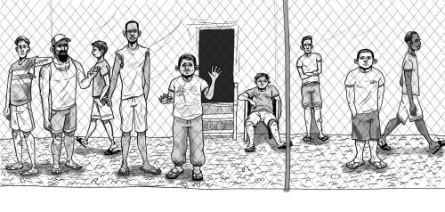 "A ""rarely published"" sketch drawn by one of Amnesty International's refugee campaigners after visiting Manus Island."