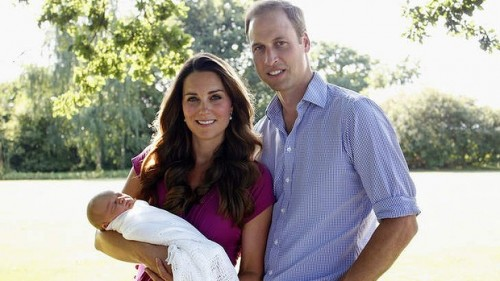 The Duke and Duchess of Cambridge with their son.
