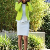 Work wear: V back blazer in lime by Ally, $39.95; Peplum Dress by Forcast, $49.00; Beige pumps with gold hardware by KMart, $25. Outfit total - $114.95
