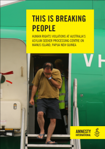 The cover of Amnesty International's latest report on Manus Island.