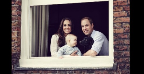 The Duke and Duchess of Cambridge with their son Prince George and dog Lupo, photographed at Kensington Palace, March 2014. Also pictured their dog Lupo. Photo by Jason Bell, Camera Press