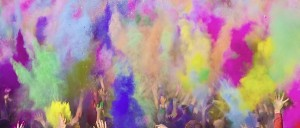 Crowd enjoying Holi