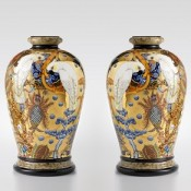 Exotic Birds and Strange Fruit Palaceware vase, pair, by Stephen Bowers