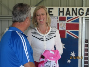 "Chief Minister Katy Gallagher at ""The Hangar"" this morning."