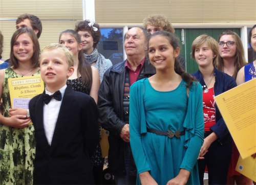 Composer Larry Sitsky with young cast members of the first of his 80th birthday celebration concerts.