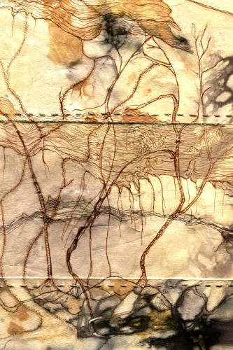 "Barbara Dawson ""Residual Rainforest,"" mixed media print and drawing"