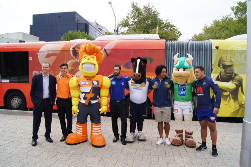 Mascots and bus