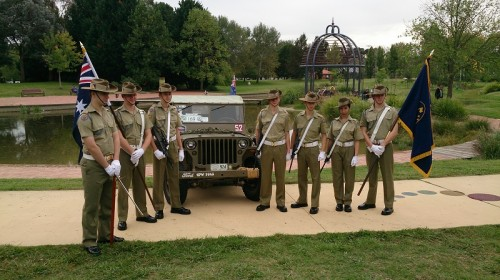 Members of the No. 224 Army Cadets unit with a restored 1945  Jeep.