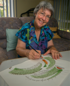 President of the Canberra Calligraphy Society, Marg Peachey. Photo Gary Schafer
