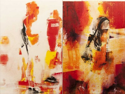 'Heat Wave,' diptych by  Robert Boynes, acrylic on canvas