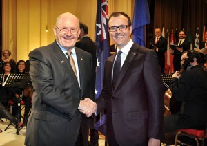 Governor-General Sir Peter Cosgrove with EU ambassador Sem Fabrizi at the opening night of the Canberra International Music Festival.