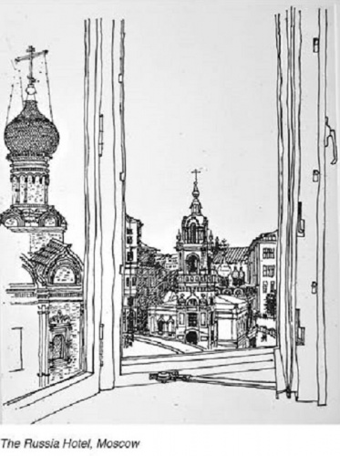 Ken Woolley etching, 'THe Russia Hotel Moscow.'