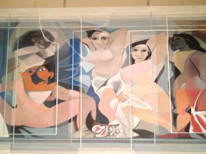 "Detail from ""The Men of Forever"", Baker's reworking of Picasso's 1907 cubist work ""Les Demoiselles d'Avignon""."