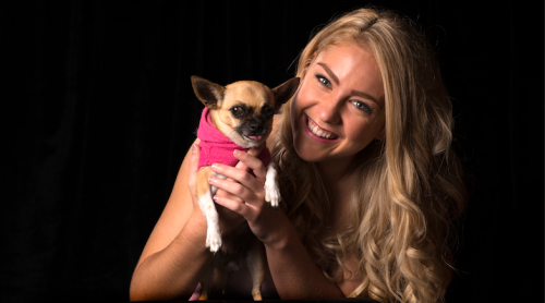 "Michaela Williams, star of ""Legally Blonde"", with her co-star chihuahua Violet, ""the Princess of Melba"". Photo by Andrew Campbell"