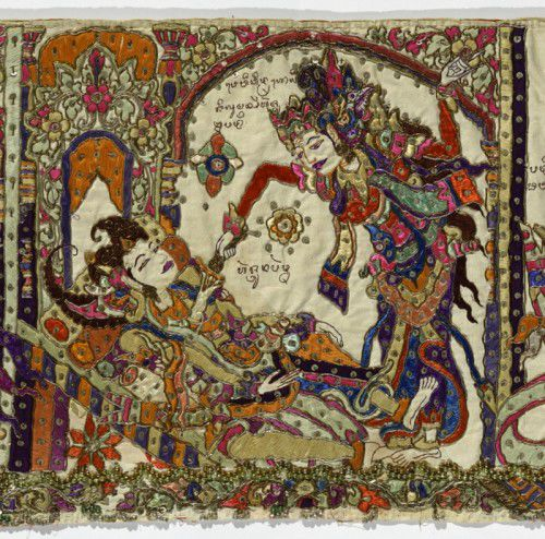 Scenes from the Mahabharata; valance for a temple or pavilion [ider-ider] (detail) late 19th century, silk, dyes, gold thread, tinsel, sequins, glass beads, cotton; appliqué, embroidery, couching, NGA, gift of Michael and Mary Abbott 1988