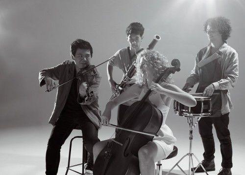 Image: Alexander Chiu, violin, Annabelle Oomens, cello, Gabriel Fischer, percussion, Justin Sun, bassoon, Photo by Kris Washusen