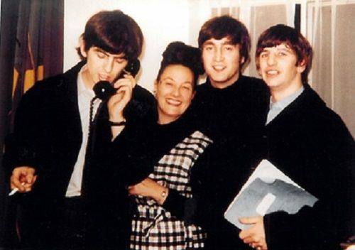 Binny Lum with the Beatles in London, April 1964. Photo by Geoff Charter. Courtesy of Geoff Charter and Sharon Terry.   NFSA title: 1219635
