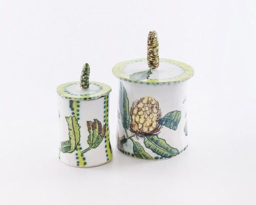 Fiona Hiscock - 'Banksia Serrata jar' and 'Wide jar with Honeyeater and Banksia Serrata'