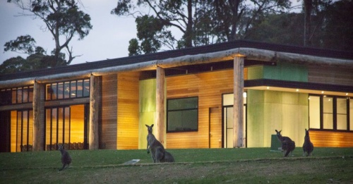 Windsong Pavilion with roos,   photo by Robert Tacheci