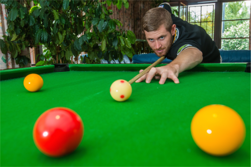"""Pool champion Steve Woods… """"When you're playing the top guys, if you're not sinking balls off the break, you won't win."""" Photo by Gary Schafer"""