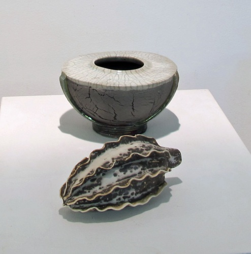 Tanya McArthur, White Crackle Raku Pot (back); Obvara-fired Raku Pod (front); 2014 Student/Teacher Exhibition