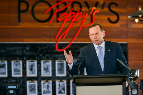 Tony Abbott opens poppy's cafe