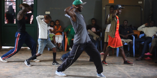 "Hip hop in full swing at Club Rafiki in Kigali… ""Young Africans love dancing, it's natural for them, so we thought formal hip hop teaching might go down well,"" says Mandy Wheen."