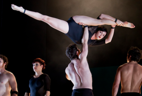 "Circa's ""S""… seven acrobats who bend, fly, contort and hang."