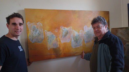 Rory Markham with artist Dennis Mortimer