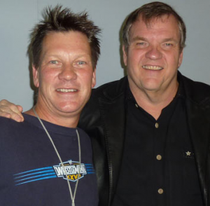 Rob Duckworth, left, with US singer Meatloaf at WSFM.