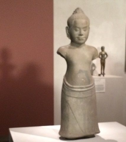 """Prajnaparamita as a child"", from Angkor Thom, Cambodia, Bayon style, late 12th to early 13th century, sandstone."