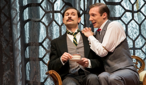 "John Worthing JP (Yalin Ozucelik) and Algernon (Nathan O'Keefe) in ""The Importance of Being Earnest"". Photo by Shane Reid."