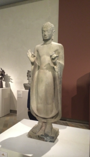 """Standing Buddha,"" from Kampong Speu, Cambodia, seventh century, sandstone."