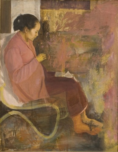 Ibu Menjahit [My Mother sewing] 1944 by S. Sudjojono oil on canvas Collection of the  National Gallery  of Indonesia
