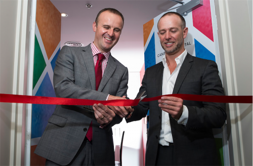 "Chief Minister Andrew Barr and Abode managingt director Nick  Georgalis... ""There is arguably nothing more stressful than having a loved one in hospital,"" says Nick."